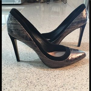 Vince Camuto Metallic and Suede Pumps